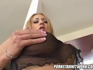 Blonde gets hard DP then swallows 8 loads
