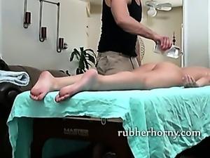 Oiled up brunette babe slow back massage