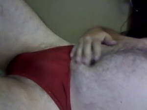 Cumming Onto Wife's Panties-Thong While Wearing Them