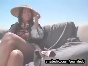 Horny Asian rides two cocks and swallows the cum