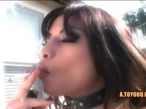 Horny brunette slut in latex enjoying two sizzling hot big dicks