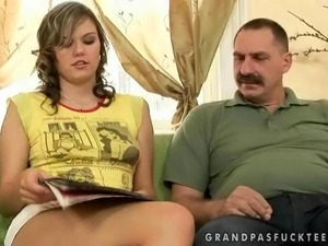 Teen enjoys hard sex with grandpa