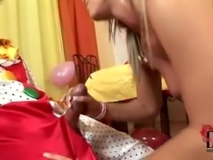 Gorgeous blonde teen rides a clown for her birthday!