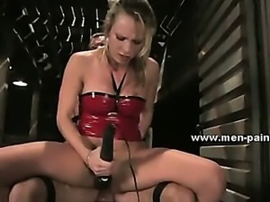 Man wrapped and held prisoner used like a sex toy in female domination sex...