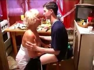 Mature blonde in white dress gets fucked and facialized