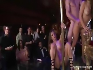 Kagney and her girlfriends are the pole dancing entertainment at a bachelor...