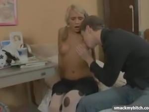 Schoolgirl in pigtails loves cock