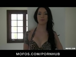 Slutty young skinny brunette strips down & fucks pussy with dildo