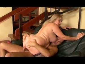 Fat busty blonde granny gets fucked by a young stud