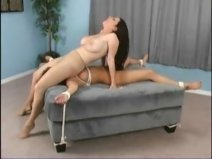 Brunette submissive is bound and gets a face sitting by her girlfriend Goldie