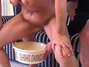 hot russian granny in satin dress fucked and piss on