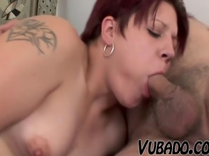 FAT REDHEAD FUCKS WITH OLD GUY !!