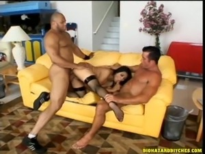Lewd asian slut getting double tagged by two huge cocks hardcore