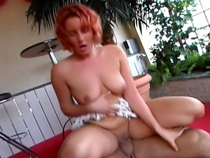 Hot short hair German young girl lusciously enjoys her meal, licking and...