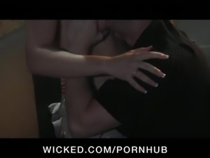 Horny young perky-tit brunette slut picked up at club fucks dick