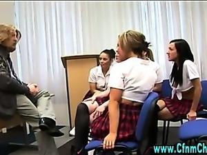 Cfnm schoolgirls over throw teacher