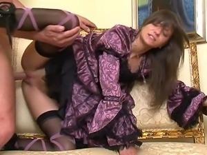Sweet stylish Lola in vintage dress having sex