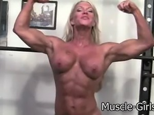 Beautiful Blonde muscular Goddess huge ripped muscles