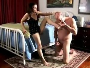 Sexy mature foot fuck and blowjob