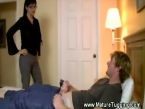 Sexy milf jerks off her younger ... free