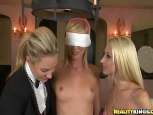 Before the girls started the taste test Kiara blind folded Haydin. Heyden...
