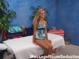 Cute teen seduced in massage room