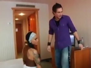 Tatted up girl and her hotel room hardcore