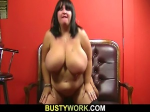 Huge barmaid jump on cock