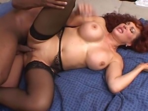Horny redhead cougar picked up and fucked by a big black cock