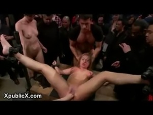 Flexible blonde bound and fucked free