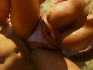 Steamy outside hardcore sex with a busty big boobed blonde getting her pussy...