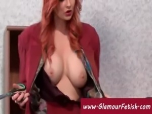 Redhead cuts the clothes off a  ... free