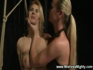 Blonde bitch gets her pussy fingered from mistress