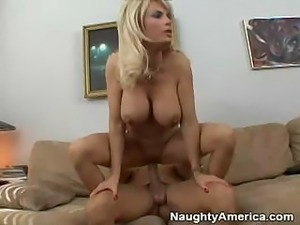 Big busted blonde works on using that hard dick for pleasure