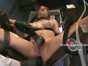 Horny redhead gets strapped down to a chair while her doctor rubs her clit...