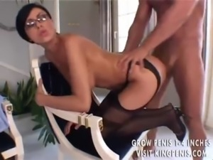 Glasses and stockings on anal fiend free