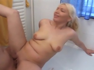 Extremely attractive blonde slut gets fucked in the bathroom. Dude pounds her...