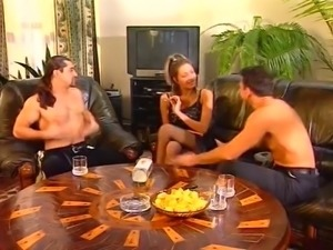 Girl plays spin the bottle and loses her clothes and more!! Double anal!!