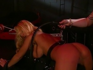 Blond big tits fetish babe tortured by master