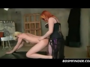 Milf redhead canes spanks then fucks her submissive blonde