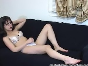 Jerk off instructor looks innocent yet sexy in her eye glasses