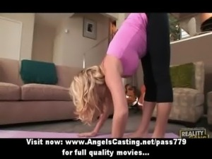 Blonde milf does yoga and blowj ... free