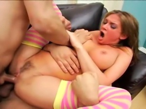 24 year old anal queen with fake 34D tits does anal and DP with a Latin guy...