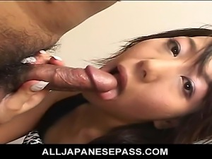 Horny cock loving Japanese cougar is on her knees sucking her fuck buddies...