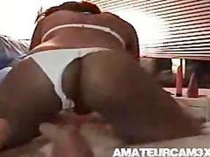 Hot black girl taking white cock