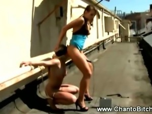 Lesbian dominatrix demandes girl to eat her ass