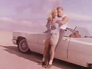 Blonde  fucked on highway retro clip