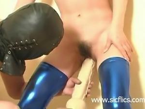 Monster dildo fucked submissive slave