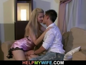 Horny sexy wife riding strangers cock