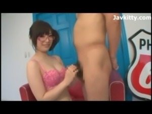 Hot Japanese Babe In Pink Glasses free
